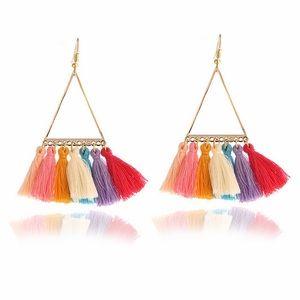 Jewelry - Triangle Boho Gold Earrings Multi Colored Tassels